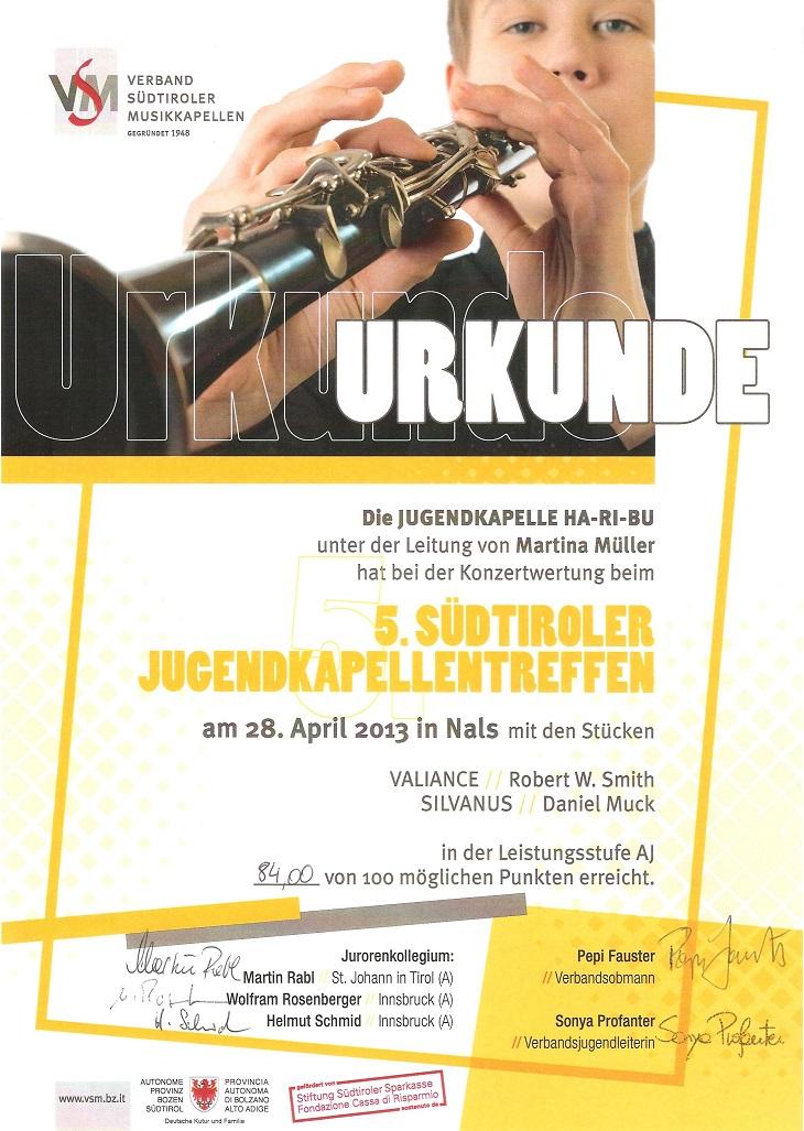 Urkunde JuKa 2013