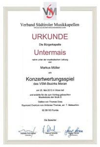 Wertungsspiel 2013 - Urkunde